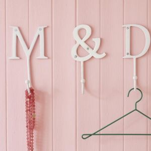 White Metal Alphabet Hooks - home accessories