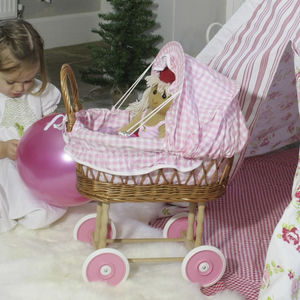 Pink Gingham Wicker Doll's Pram