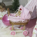 Wicker Doll's Pram With Pink Gingham Hood