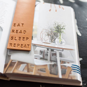 Eat, Read, Sleep, Repeat Leather Bookmark