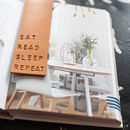 Eat, Read, Sleep, Repeat Leather Embossed Bookmark