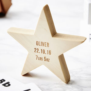 Personalised Baby Keepsake Wooden Star - stocking fillers