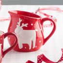 Red Nordic Reindeer Christmas Jug