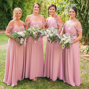 Bardot Floor Length Bridesmaid Dress In 35 Colours