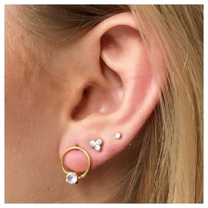 14k Gold Vermeil Forward Facing Hoops In Moonstone - earrings