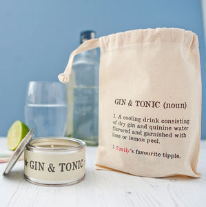 Personalised Gin And Tonic Candle In Gift Bag