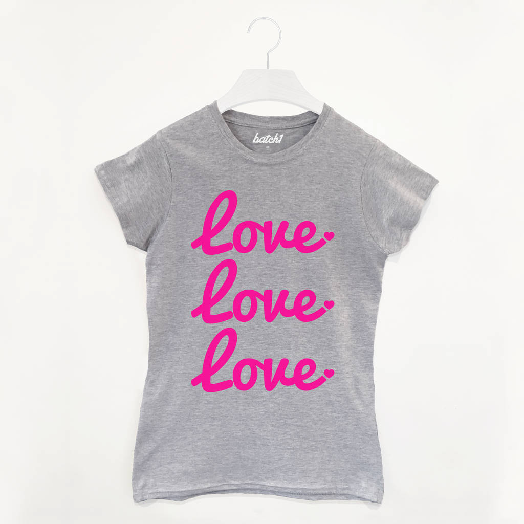 Love Love Love Slogan T-Shirt
