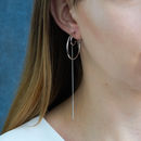 Circle Crescent With Long Chain Earrings