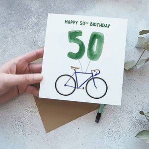 50th Birthday Bike With Balloons Card - 50th birthday cards