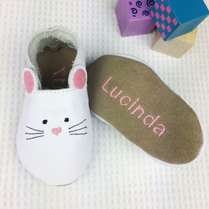 Personalised Leather Mouse Baby Shoes - shoes & footwear
