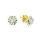 14 K Gold Vermeil Diamond And Moonstone Hexagon Earrings