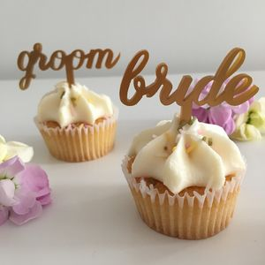 Bride And Groom Wedding Cupcake Toppers