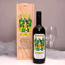 Personalised Wine Gift With Family Crest Label