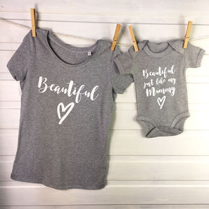 'Beautiful' Mother And Daughter T Shirt Set - tops & t-shirts