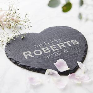 Slate Heart Personalised Serving Board - mr & mrs