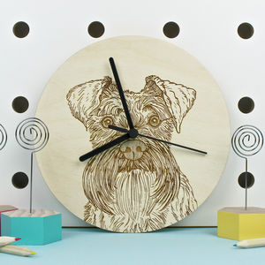 Schnauzer Dog Portrait Clock - children's decorative accessories