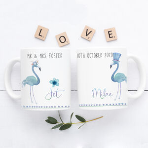 Personalised Flamingo Wedding Mugs