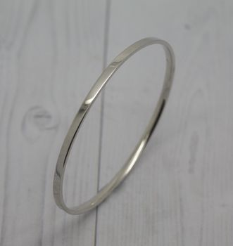 Solid Silver Handmade Flat Bangle