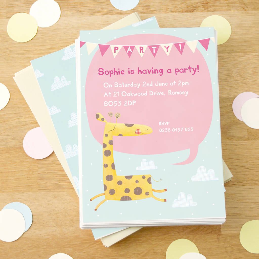 personalised giraffe party invitations by made by ellis ...