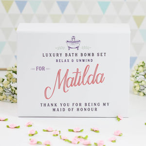 Personalised Maid Of Honour Thank You Gift Set