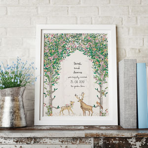 Personalised Woodland Stag And Doe Occasion Print - winter sale