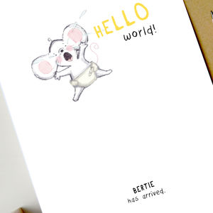 'Hello World' Personalised New Baby Card
