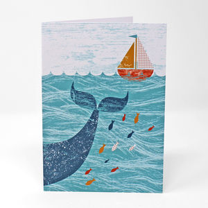 Little Boat And Big Whale Card