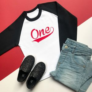 'One' Birthday Raglan Baseball Top