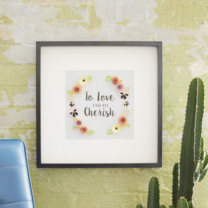 'To Love And To Cherish' Framed Floral Art Picture - mr & mrs