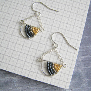 Geometric Silver Beaded Chandelier Earrings