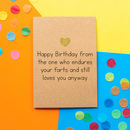 'Birthday Farts' Funny Husband Birthday Card