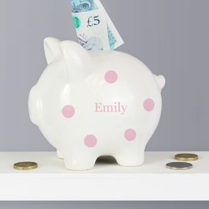Personalised Polka Dot Piggy Banks In Pink Or Blue - money boxes