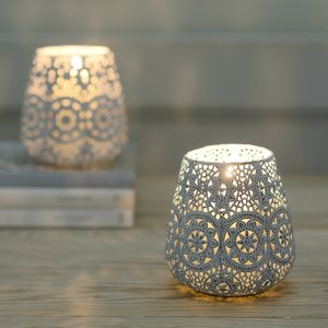 Lace Doily Tea Light Candle Lantern - outdoor decorations