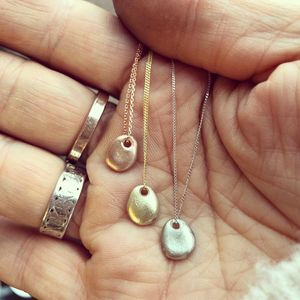 Tiny Solid Gold Pebble Charm Necklace