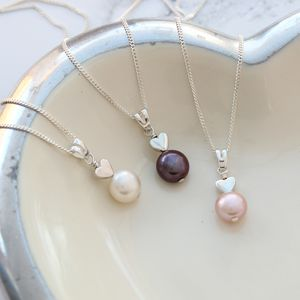 Pearl Pendant With Heart - necklaces & pendants
