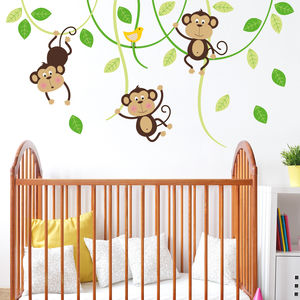Three Monkeys On Swings Nursery Wall Sticker - children's room