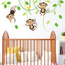 Three Monkeys On Swings Nursery Wall Sticker