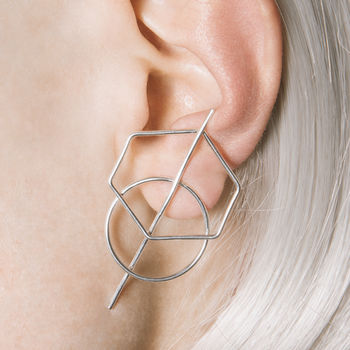Hexagonal Silver Wire Stud Earrings