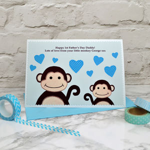 'Little Monkey' Personalised 1st Fathers Day Card - first father's day cards