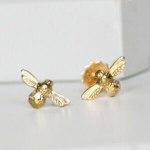 9ct Gold Bee Stud Earrings