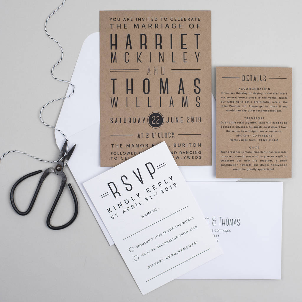 graphic type wedding invitation by pear paper co ...