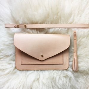 Handmade Vegetable Tanned Leather Clutch Bag - clutch bags