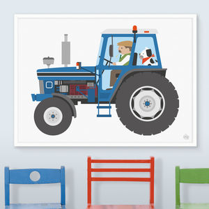 Blue Tractor Print - children's pictures & paintings