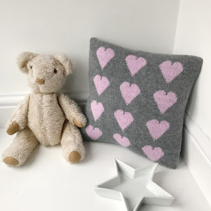 Knitted Heart Cushion - children's room