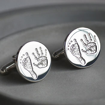 Silver Double Handprint And Footprint Cufflinks For Dad