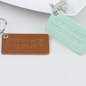 Leather Coordinates Keyring - keyrings
