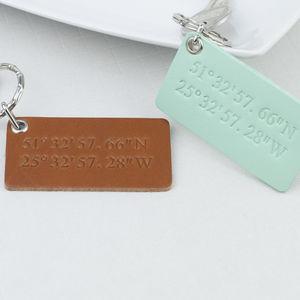 Leather Coordinates Keyring - keyrings