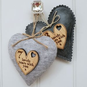 7th Wedding Anniversary Wool Heart With Oak Message
