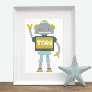Personalised Robot Print - baby's room