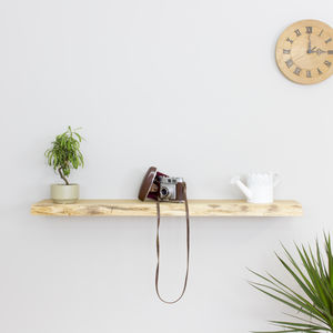 Waney Edge Solid Oak Floating Wall Shelf - laundry room
